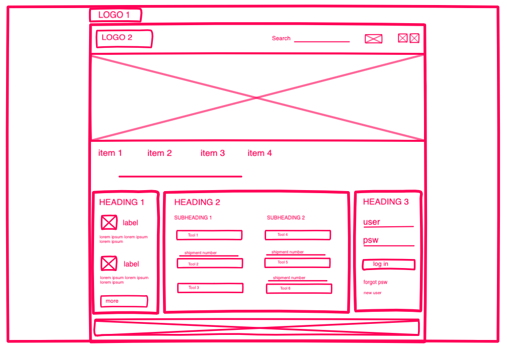 Wireframes for the home page of an Italian delivery company